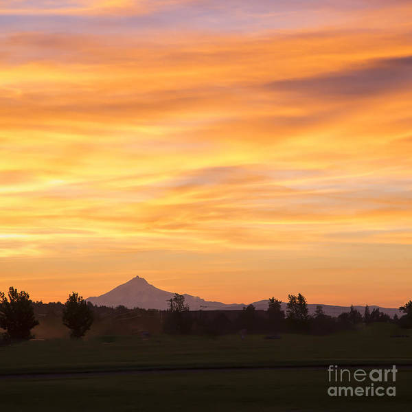 Forest Fire Sunset Over Mount Jefferson Art Print