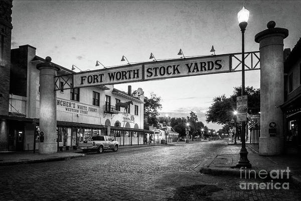 Photograph - Fort Worth Stockyards Bw by Joan Carroll