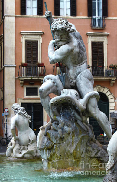 Photograph - Fountain Of Neptune Detail In Rome by Gregory Dyer