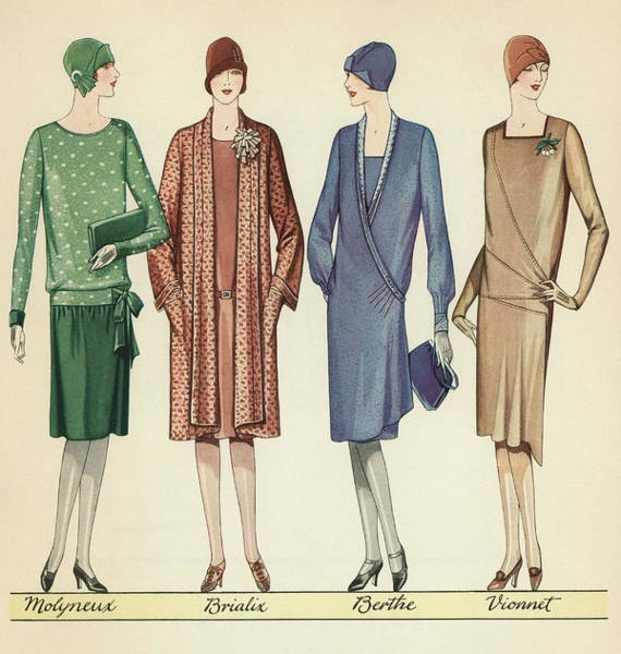 Chanel Painting - Four Flappers Modelling French Designer Outfits, 1928  by American School
