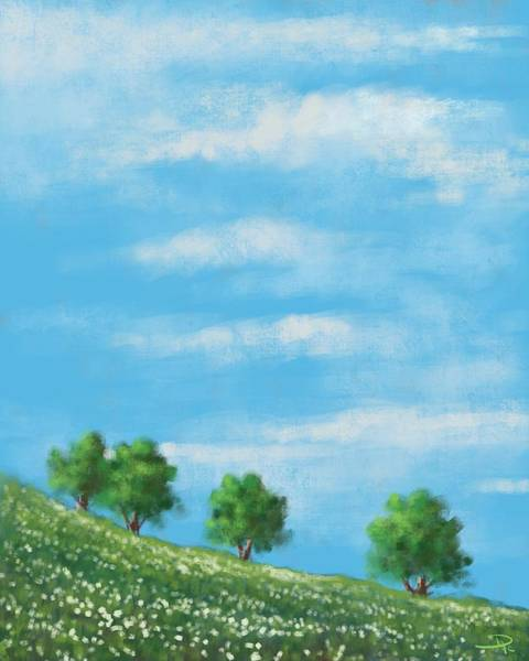 Wall Art - Digital Art - Four Trees by David G Paul