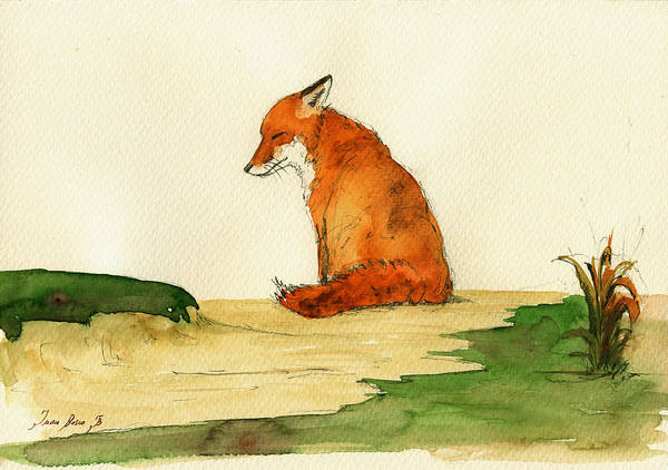 Watercolor Painting - Fox Sleeping Painting by Juan  Bosco