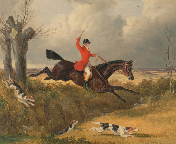 Ditch Painting - Foxhunting - Clearing A Ditch by John Frederick Herring