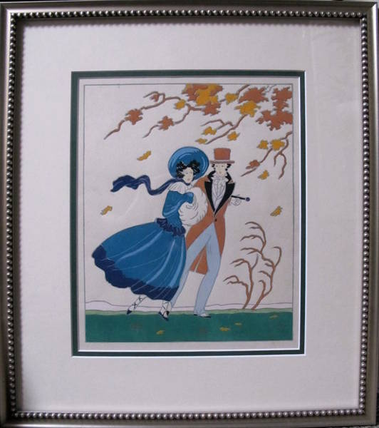 Francaise Painting - Framed Autumn Fall Fashion Pochoir By Lucien Baubaut, C.1915-1920 by Lucien Baubaut