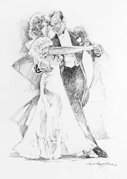 Drawing - Fred And Ginger Top Hat by David Lloyd Glover