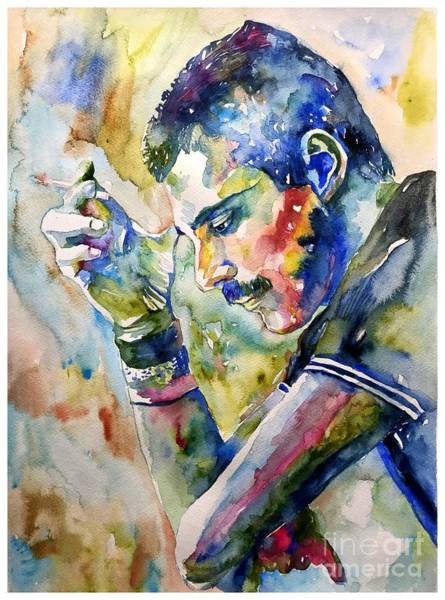 Guitarist Wall Art - Painting - Freddie Mercury Watercolor by Suzann Sines