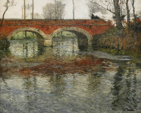 Painting - French River Landscape With A Stone Bridge by Frits Thaulow