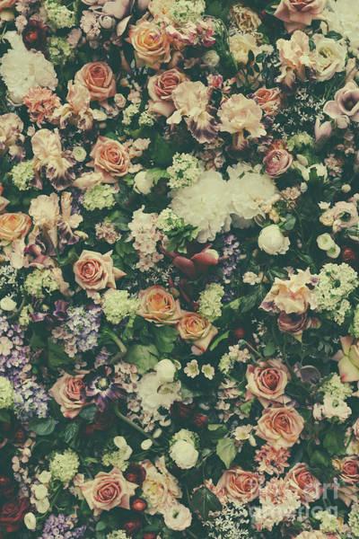 Wedding Bouquet Photograph - Fresh Flower Pattern Background by Jelena Jovanovic