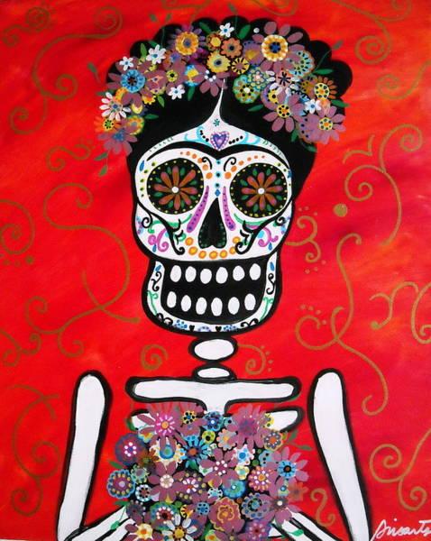 Wall Art - Painting - Frida Dia De Los Muertos by Pristine Cartera Turkus