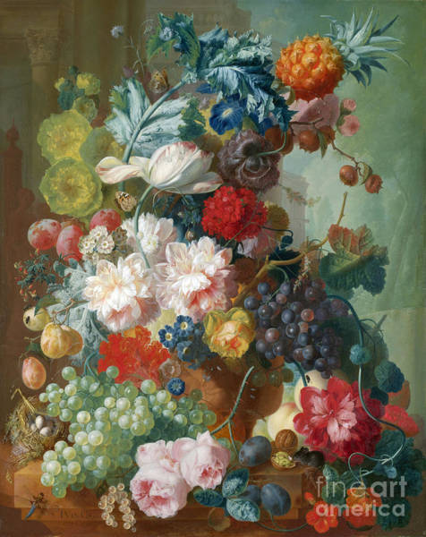 Terracotta Painting - Fruit And Flowers In A Terracotta Vase by Celestial Images
