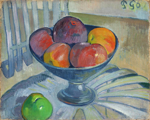 Wall Art - Painting - Fruit Dish On A Garden Chair by Paul Gauguin