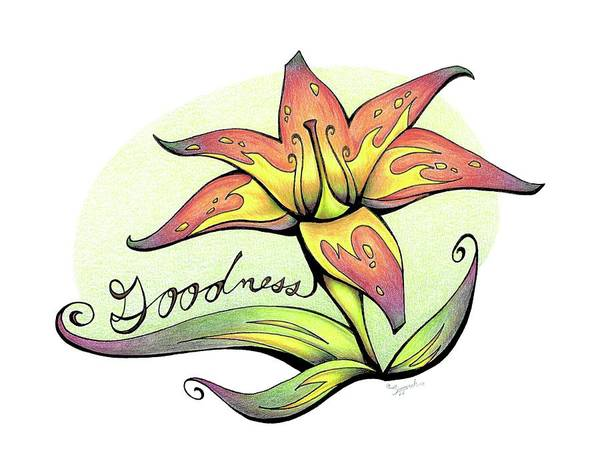 Garden Wall Drawing - Inspirational Flower Tiger Lily by Sipporah Art and Illustration