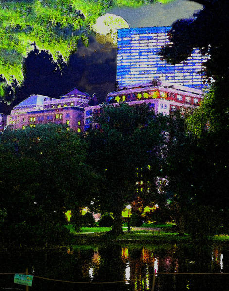 Digital Art - Full Moon Over Boston Public Garden by William Sargent