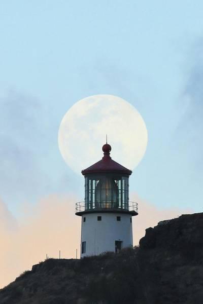 Photograph - Full Moon Over Makapu'u Light by M C Hood