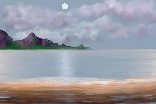 Digital Art - Full Moon Seascape by Tony Rodriguez