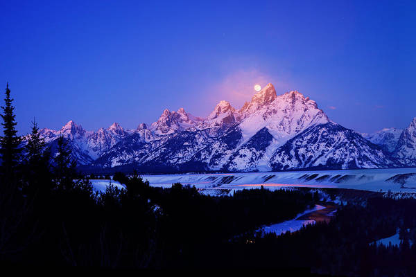 Photograph - Full Moon Sets In The Tetons  by Raymond Salani III