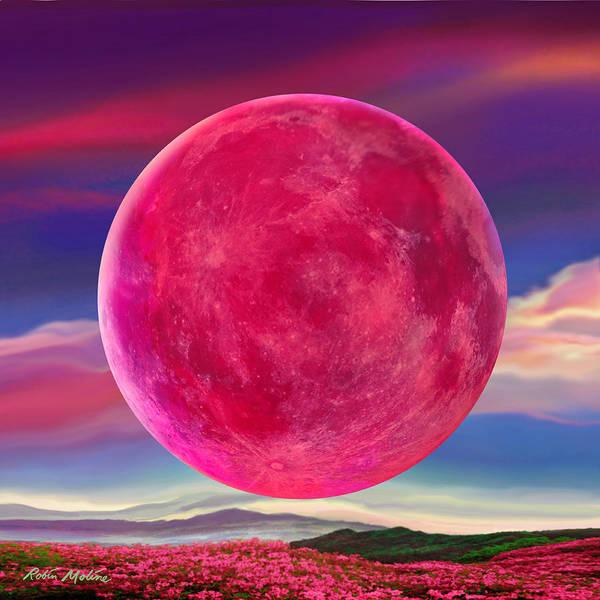 Digital Art - Full Pink Moon by Robin Moline