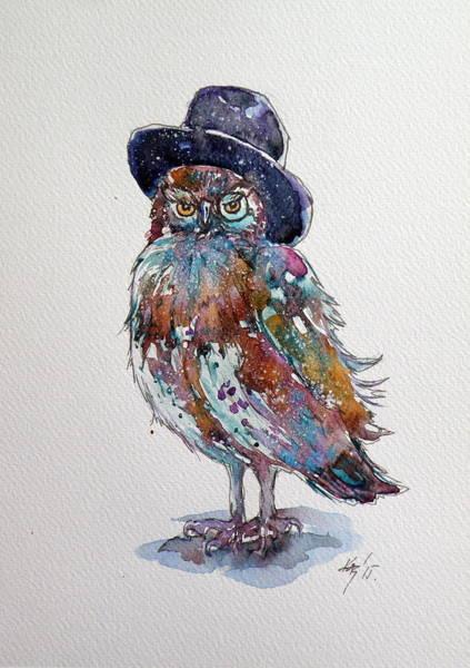 Owl Painting - Funny Owl by Kovacs Anna Brigitta