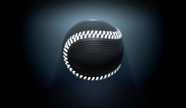 Developed Wall Art - Digital Art - Futuristic Neon Sports Ball by Allan Swart