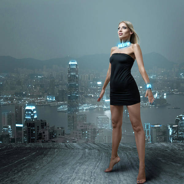 Hongkong Photograph - Futuristic Woman In Night City by IPolyPhoto Art