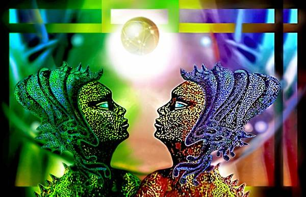 Painting - Galactic Sisters by Hartmut Jager