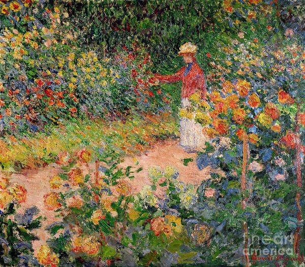 Oil Painting - Garden At Giverny by Claude Monet