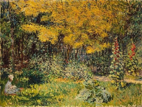 Wall Art - Painting - Camille Monet In The Garden At Argenteuil by Claude Monet
