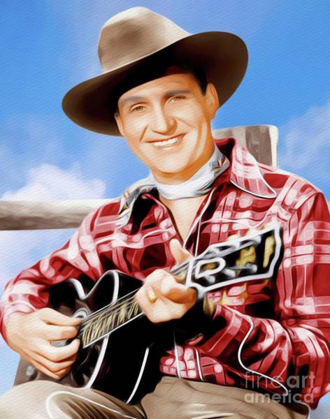 Cowboy Movie Wall Art - Painting - Gene Autry, Hollywood Legend by John Springfield