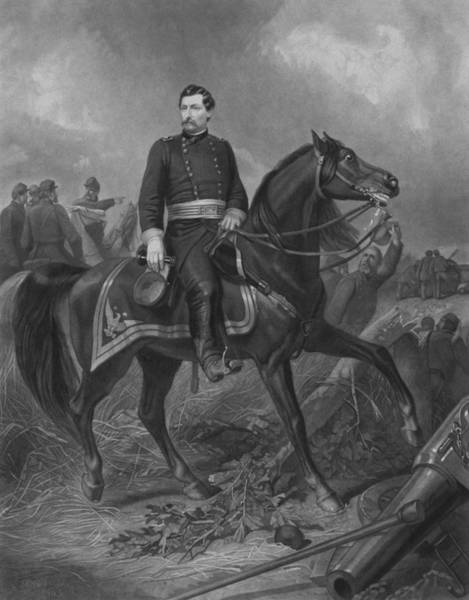 The War Of Northern Aggression Drawing - General George Mcclellan On Horseback by War Is Hell Store