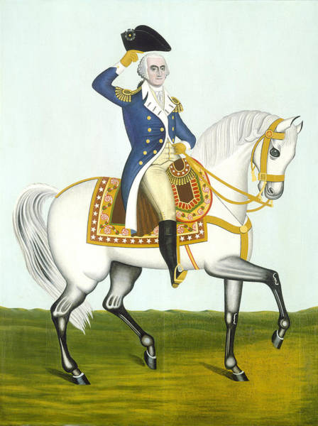 Painting - General Washington On A White Charger by American 19th Century