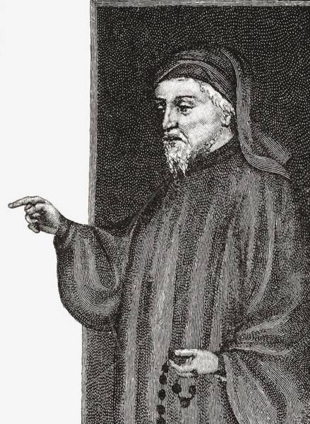 Wall Art - Drawing - Geoffrey Chaucer C. 1343 To 1400 by Vintage Design Pics