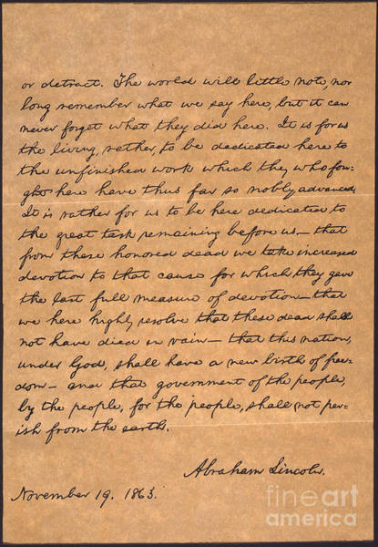 Manuscript Wall Art - Photograph - Gettysburg Address by Granger