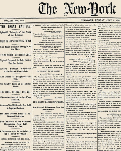Photograph - Gettysburg Headline, 1863 by Granger