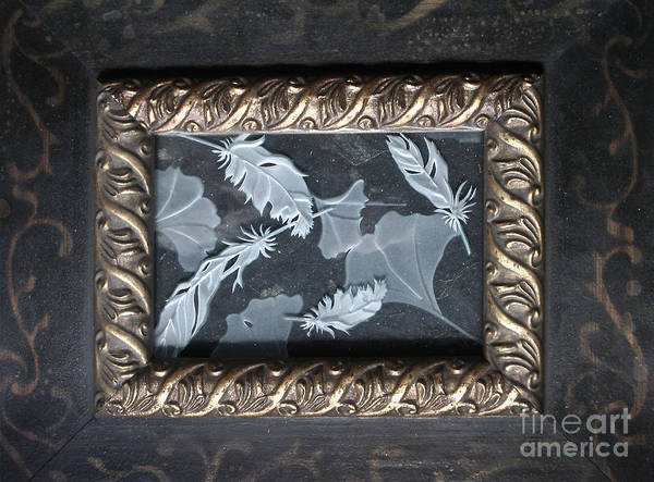 Glass Art - Ginko Leaves And Feathers by Alone Larsen