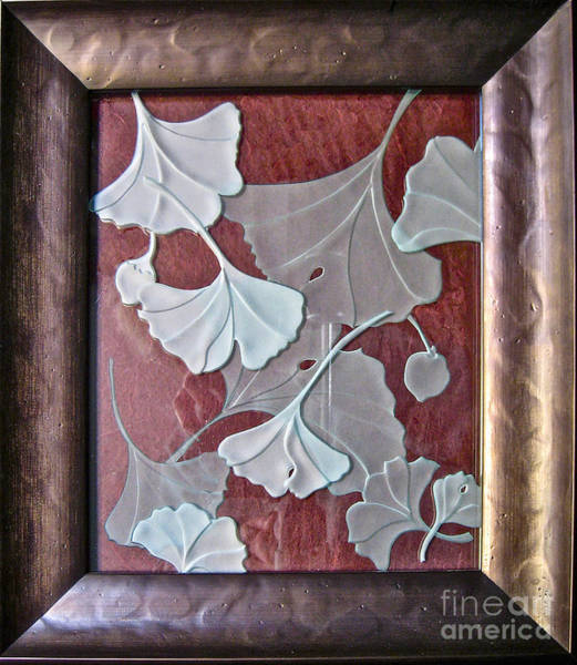Glass Art - Ginko Leaves On Red by Alone Larsen