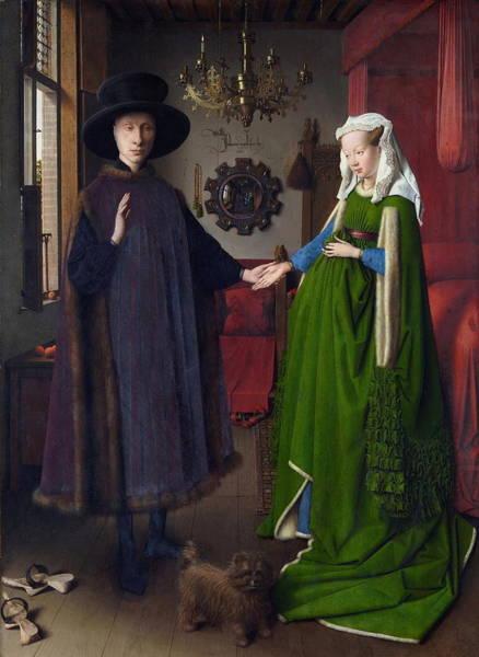 Arnolfini Painting - Giovanni Arnolfini And His Bride The Arnolfini Marriage by Jan Van Eyck