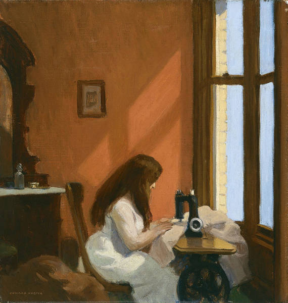 Wall Art - Painting - Girl At Sewing Machine by Edward Hopper