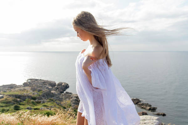 Girl In A White Dress By The Sea Art Print