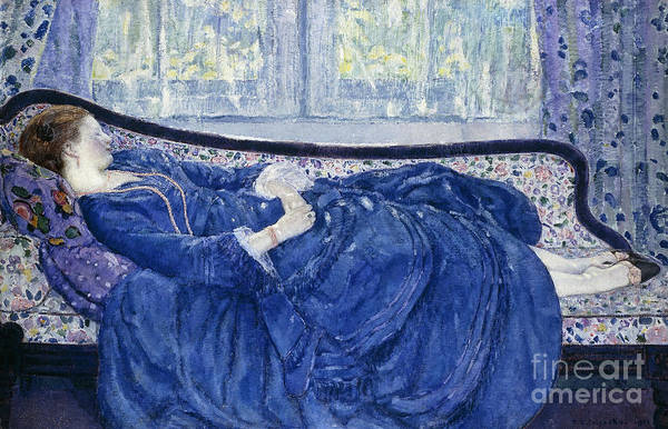 Blue Dress Painting - Girl In Blue by Frederick Carl Frieseke