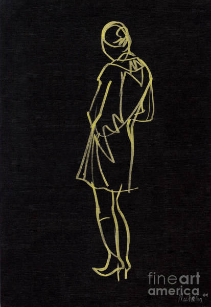 High Heels Drawing - Girl On Black by Natoly Art