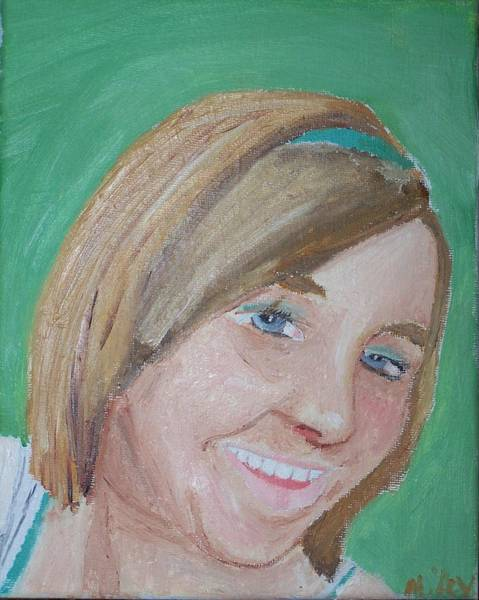 Wall Art - Painting - Girl On Green by Mikey Milliken