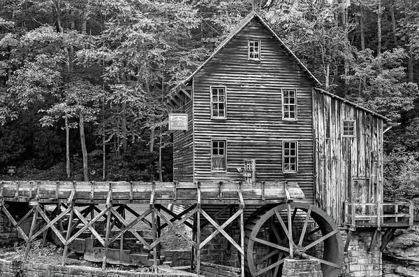Wall Art - Photograph - Glade Creek Grist Mill 4 Bw by Steve Harrington