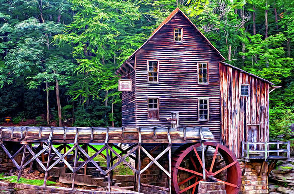 Wall Art - Photograph - Glade Creek Grist Mill 4 - Paint by Steve Harrington