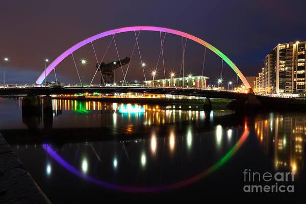 Photograph - Glasgow Clyde Arc Bridge At Twilight by Maria Gaellman