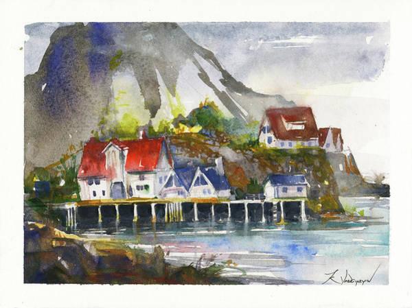 Norway Painting - Gloomy Day by Kristina Vardazaryan