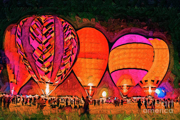Digital Art - Glowing Hot Air Balloons In Abstract by Kirt Tisdale