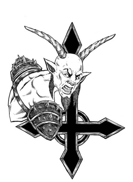 Demonic Drawing - Goatlord Of The Cross by Alaric Barca