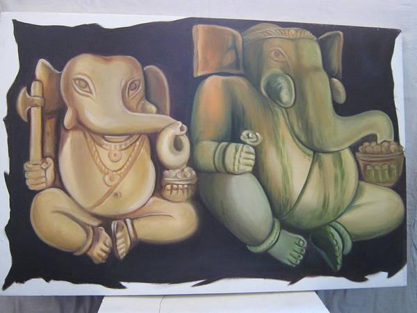 Wall Art - Painting - God Ganesh by Gayatri Maheshwari