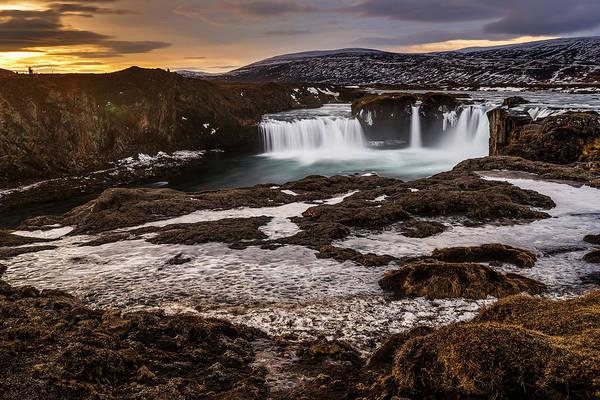 Photograph - Godafoss Waterfall In Winter Iceland by Pradeep Raja PRINTS