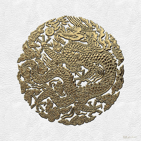 Digital Art - Golden Chinese Dragon White Leather  by Serge Averbukh